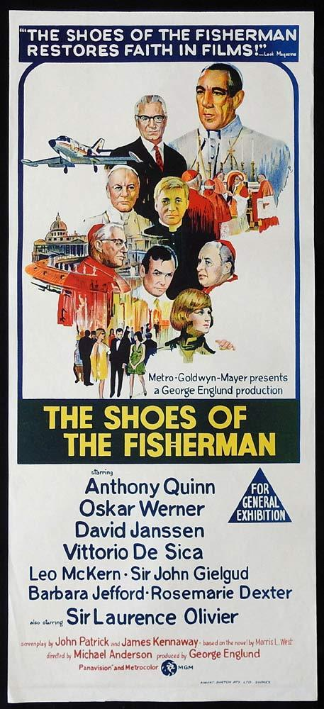 SHOES OF THE FISHERMAN Original Daybill Movie Poster Anthony Quinn Laurence Olivier