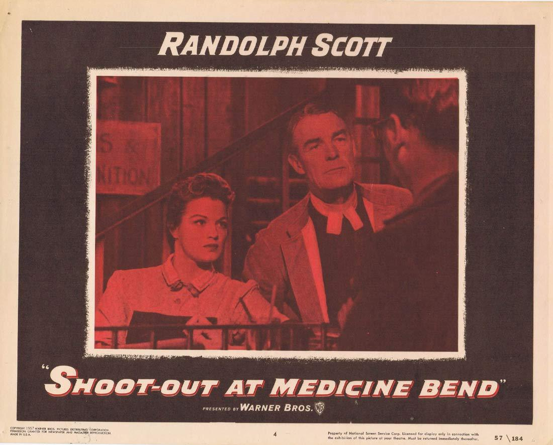 SHOOT OUT AT MEDICINE BEND Original Lobby Card  4 Randolph Scott Angie Dickinson