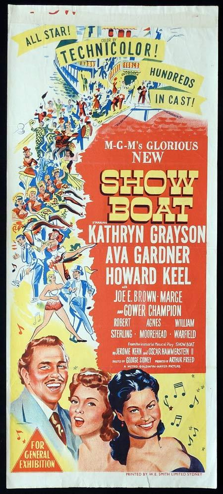 SHOWBOAT Original daybill Movie Poster Kathryn Grayson Ava Gardner Howard Keel