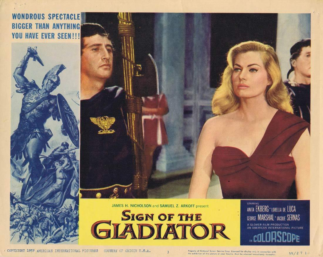 SIGN OF THE GLADIATOR Original Lobby Card 3 Anita Ekberg Sheba and the Gladiator