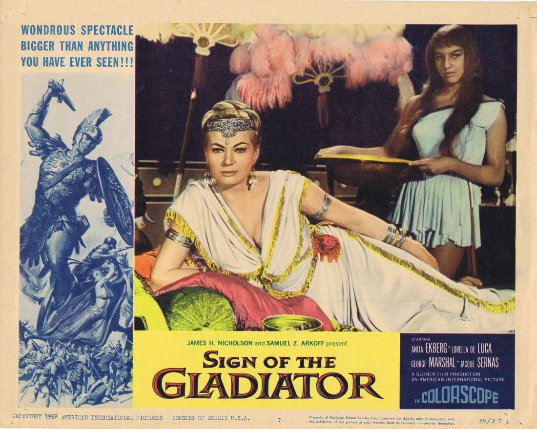 SIGN OF THE GLADIATOR Original Lobby Card 7 Anita Ekberg Sheba and the Gladiator