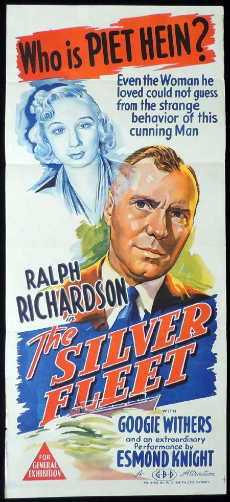 THE SILVER FLEET Original Daybill Movie Poster Ralph Richardson Googie Withers