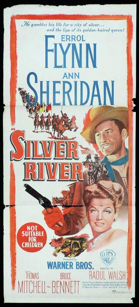 SILVER RIVER Original Daybill Movie Poster ERROL FLYNN Ann Sheridan