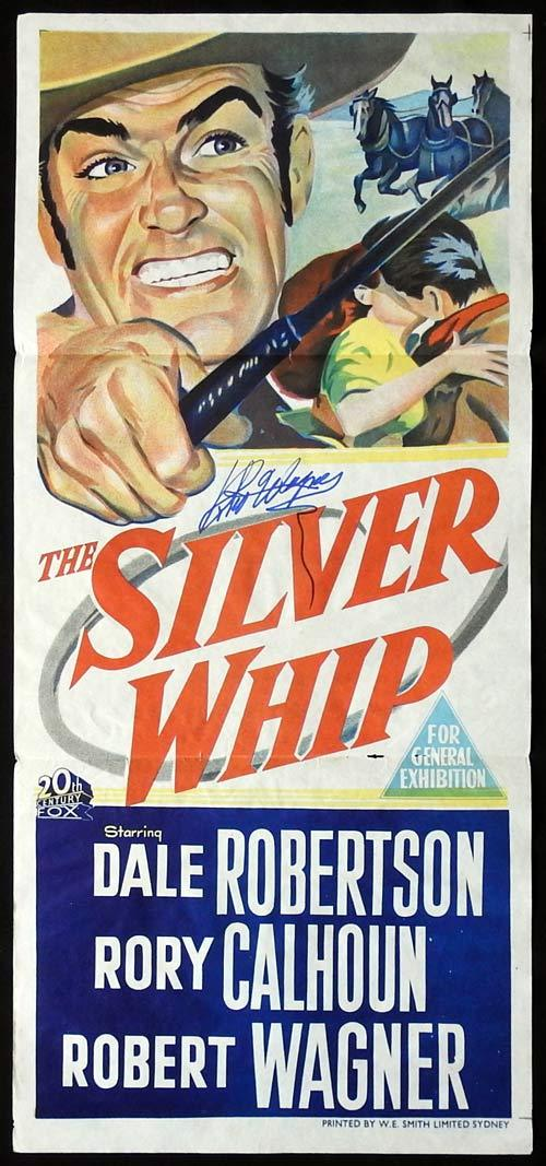 THE SILVER WHIP Original Daybill Movie poster ROBERT WAGNER Autographed