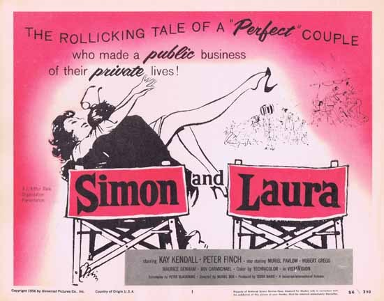 SIMON AND LAURA Title Lobby Card 1955 Peter Finch