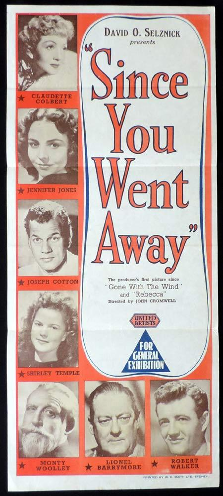 SINCE YOU WENT AWAY Original Daybill Movie Poster Claudette Colbert Joseph Cotten