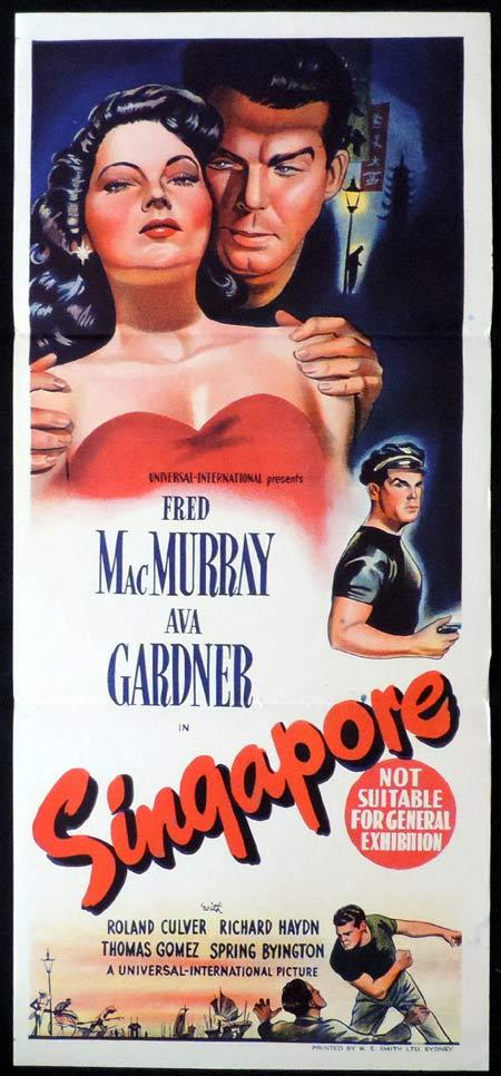 SINGAPORE Original Daybill Movie Poster Fred MacMurray Ava Gardner
