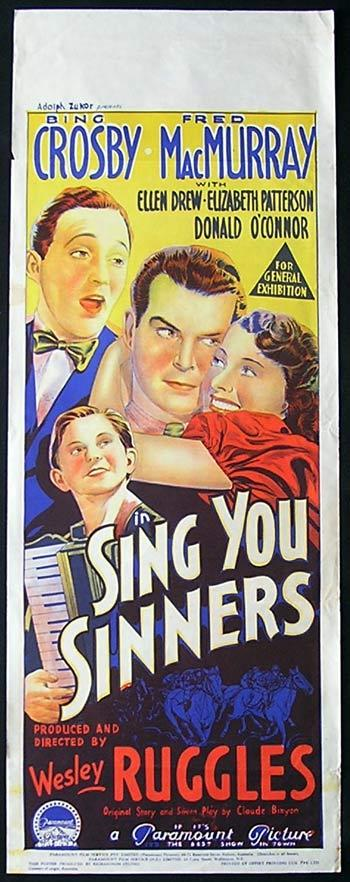 SING YOU SINNERS '38 Bing Crosby RICHARDSON STUDIO Rare Original poster