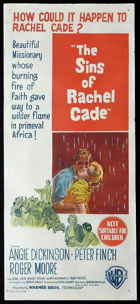 THE SINS OF RACHEL CADE Original Daybill Movie Poster Angie Dickinson Peter Finch