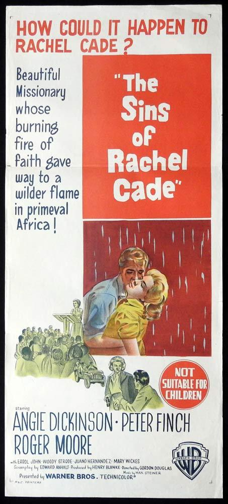 THE SINS OF RACHEL CADE Original Day0bill Movie poster Angie Dickinson Peter Finch