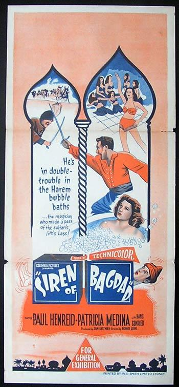 SIREN OF BAGDAD Daybill Movie Poster 1953 Henreid Medina