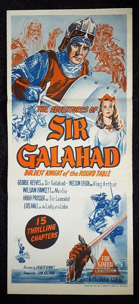 ADVENTURES OF SIR GALAHAD Daybill Movie Poster George Reeves Columbia Serial