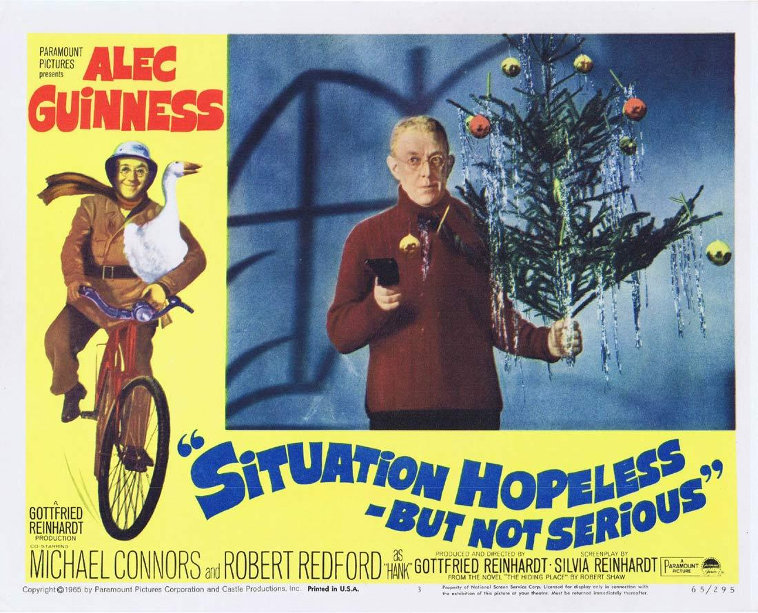 SIUTATION HOPELESS BUT NOT SERIOUS Lobby Card 3 Alec Guinness Mike Connors Robert Redford