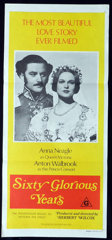 SIXTY GLORIOUS YEARS Anna Neagle Anton Walbrook VINTAGE Daybill Movie poster