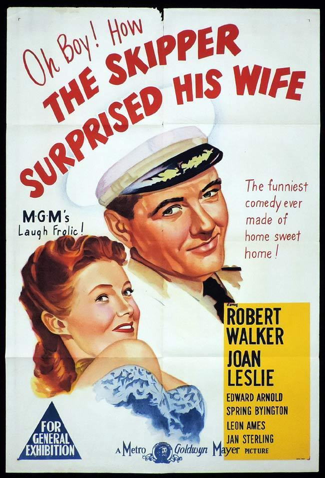 THE SKIPPER SURPRISED HIS WIFE Original One sheet Movie Poster Robert Walker Joan Leslie.