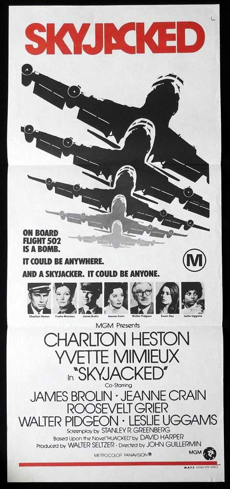SKYJACKED Daybill Movie Poster CHARLTON HESTON Airplane Hijack