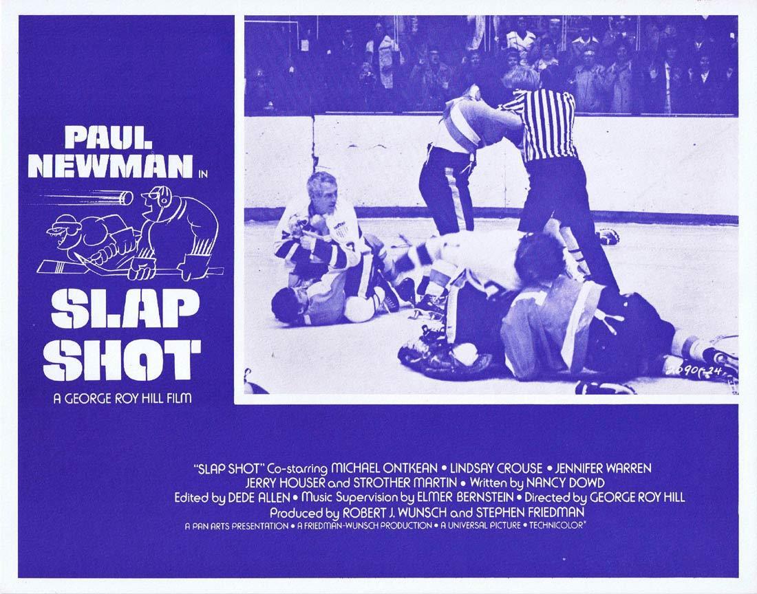SLAP SHOT Original Lobby Card 1 Paul Newman Ice Hockey Strother Martin