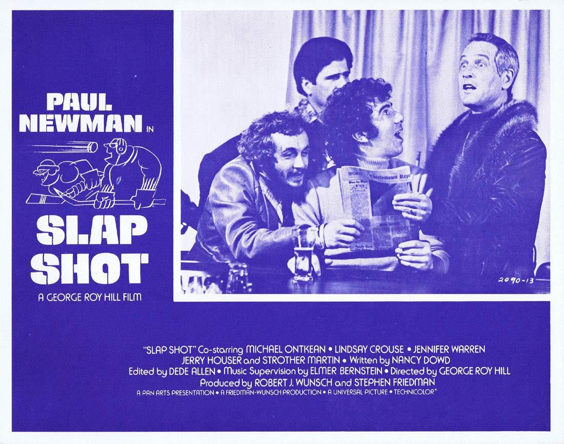SLAP SHOT Original Lobby Card 2 Paul Newman Ice Hockey Strother Martin