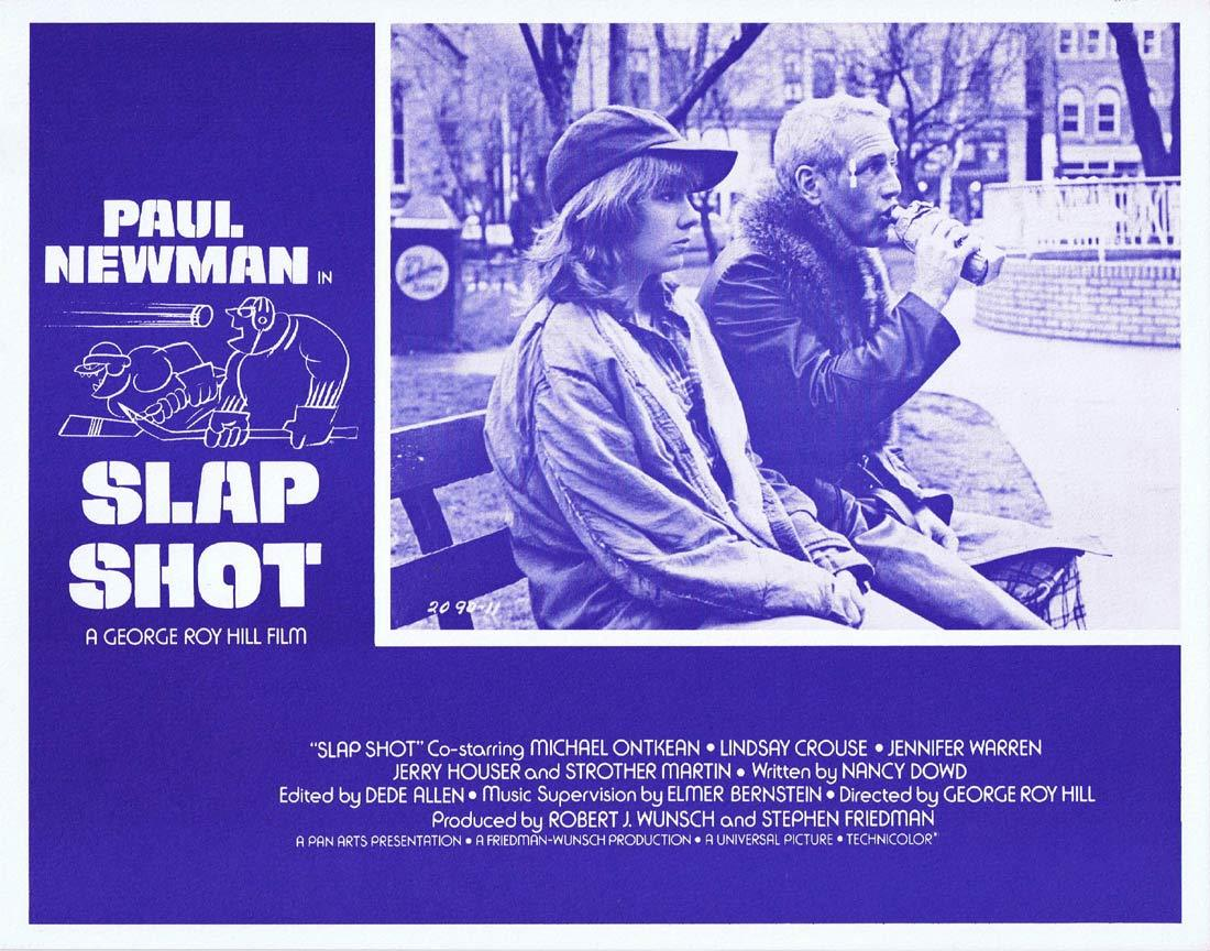 SLAP SHOT Original Lobby Card 3 Paul Newman Ice Hockey Strother Martin