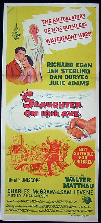 SLAUGHTER ON 10TH AVENUE Original Daybill Movie Poster Richard Egan Film Noir
