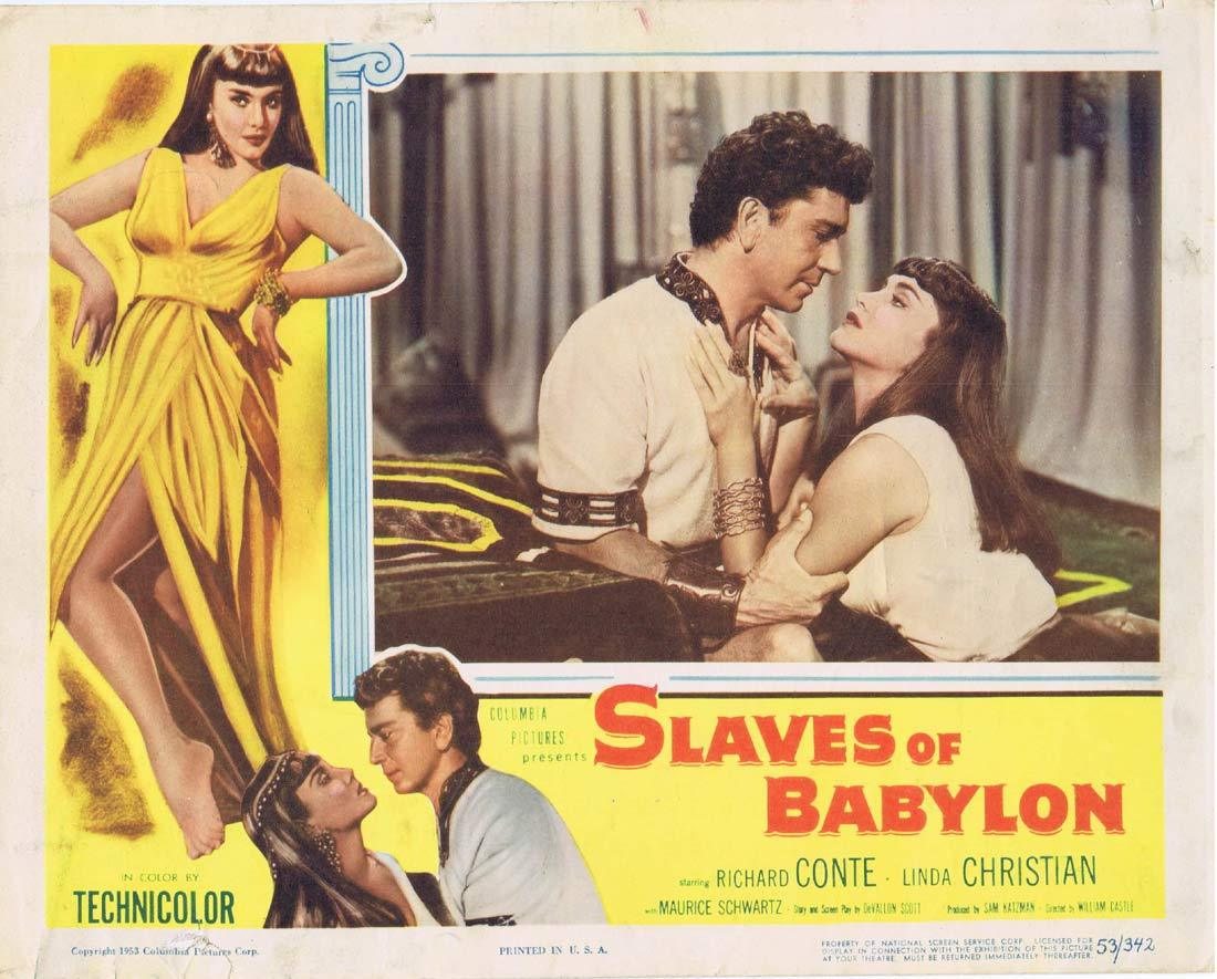 SLAVES OF BABYLON Original Lobby Card Richard Conte Linda Christian