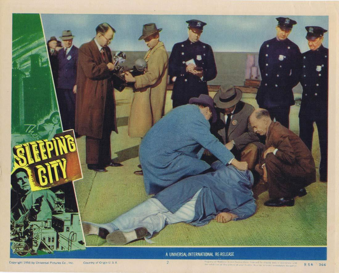 SLEEPING CITY Original Lobby Card 2 Richard Conte Film Noir 1956r