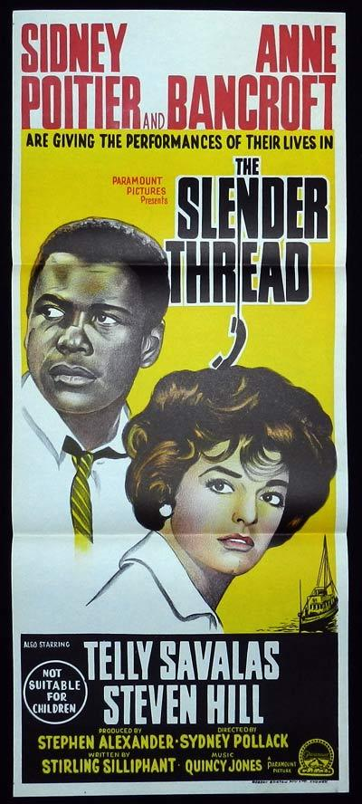 THE SLENDER THREAD Original Daybill Movie Poster Sidney Poitier Anne Bancroft