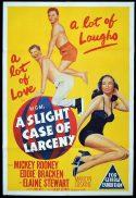 A SLIGHT CASE OF LARCENY Original One sheet Movie Poster Mickey Rooney Eddie Bracken Elaine Stewart