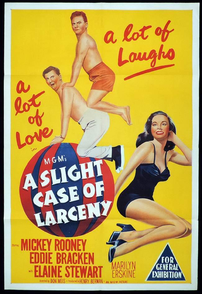 A SLIGHT CASE OF LARCENY Original One sheet Movie Poster Mickey Rooney Eddie Bracken Elaine Stewart