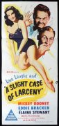A SLIGHT CASE OF LARCENY Original Daybill Movie Poster Mickey Rooney