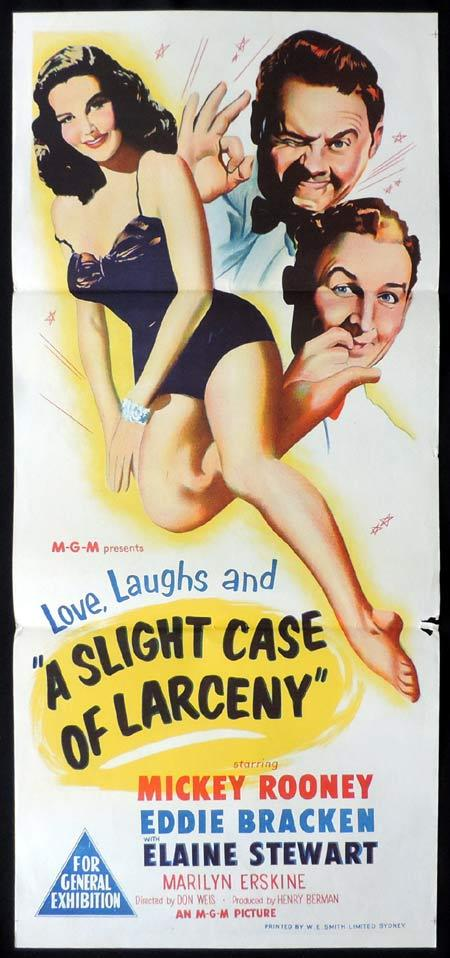 A SLIGHT CASE OF LARCENY Original Daybill Movie Poster Mickey Rooney