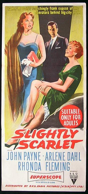 SLIGHTLY SCARLET Film Noir Movie poster 1956 John Payne RKO Australian Daybill