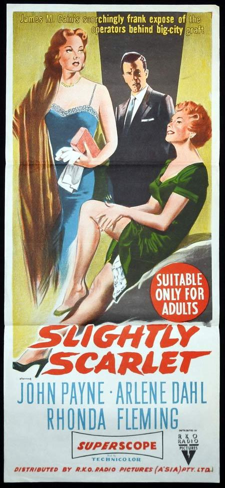 SLIGHTLY SCARLET Original Daybill Movie Poster John Payne Rhonda Fleming Arlene Dahl