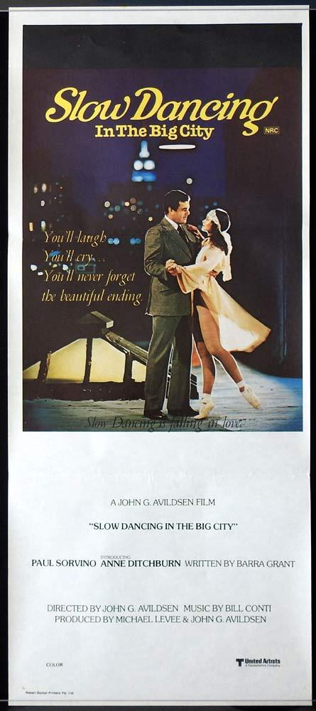 SLOW DANCING IN THE BIG CITY Daybill Movie poster Paul Sorvino Anne Ditchburn