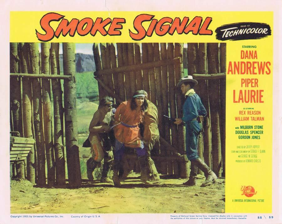 SMOKE SIGNAL Lobby Card 3 Dana Andrews 1955 Western American Indian