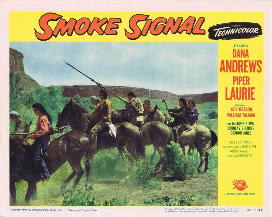 SMOKE SIGNAL Lobby Card 4 Dana Andrews 1955 Western American Indian