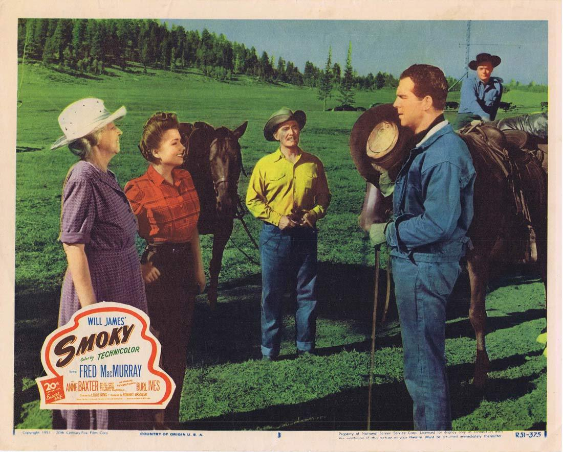 SMOKY Lobby Card 3 1951r Fred MacMurray Anne Baxter