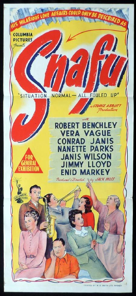SNAFU Original Daybill Movie Poster Robert Benchley Vera Vague