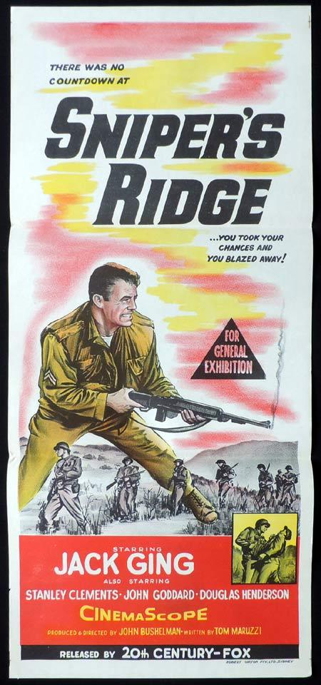 SNIPER'S RIDGE Original Daybill Movie Poster Korean War drama