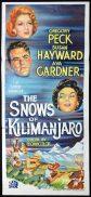 THE SNOWS OF KILIMANJARO Original Daybill Movie Poster Gregory Peck Ava Gardner Susan Hayward