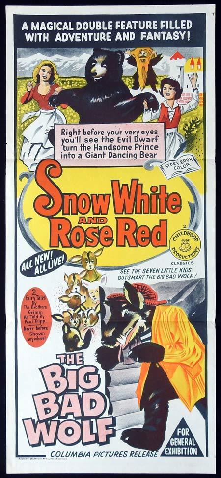 SNOW WHITE AND ROSE RED plus THE BIG BAD WOLF Original Daybill Movie Poster