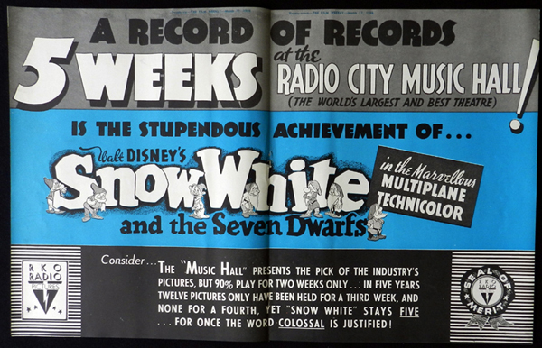 SNOW WHITE AND THE SEVEN DWARFS 1938 Walt Disney VINTAGE Original Movie Trade Ad 1