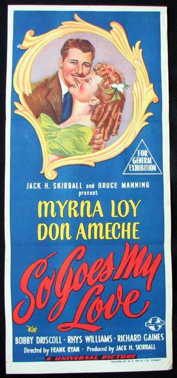 SO GOES MY LOVE Movie poster Don Ameche Myrna Loy