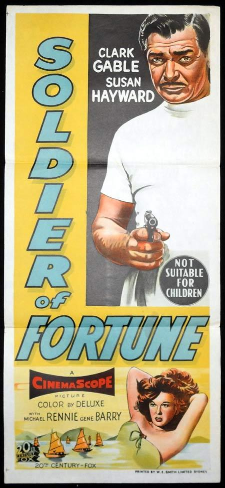 SOLDIER OF FORTUNE Original Daybill Movie Poster Clark Gable Susan Hayward
