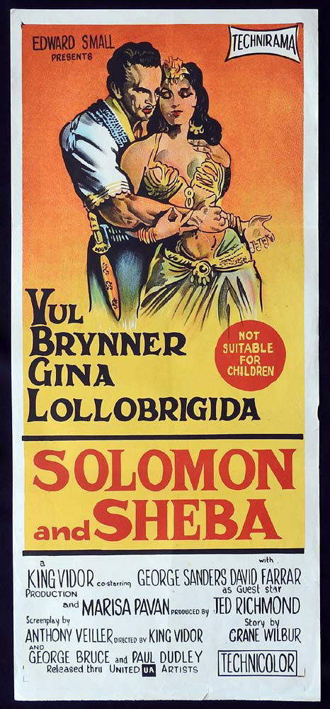 SOLOMON AND SHEBA Original Daybill Movie Poster Gina Lollobrigida