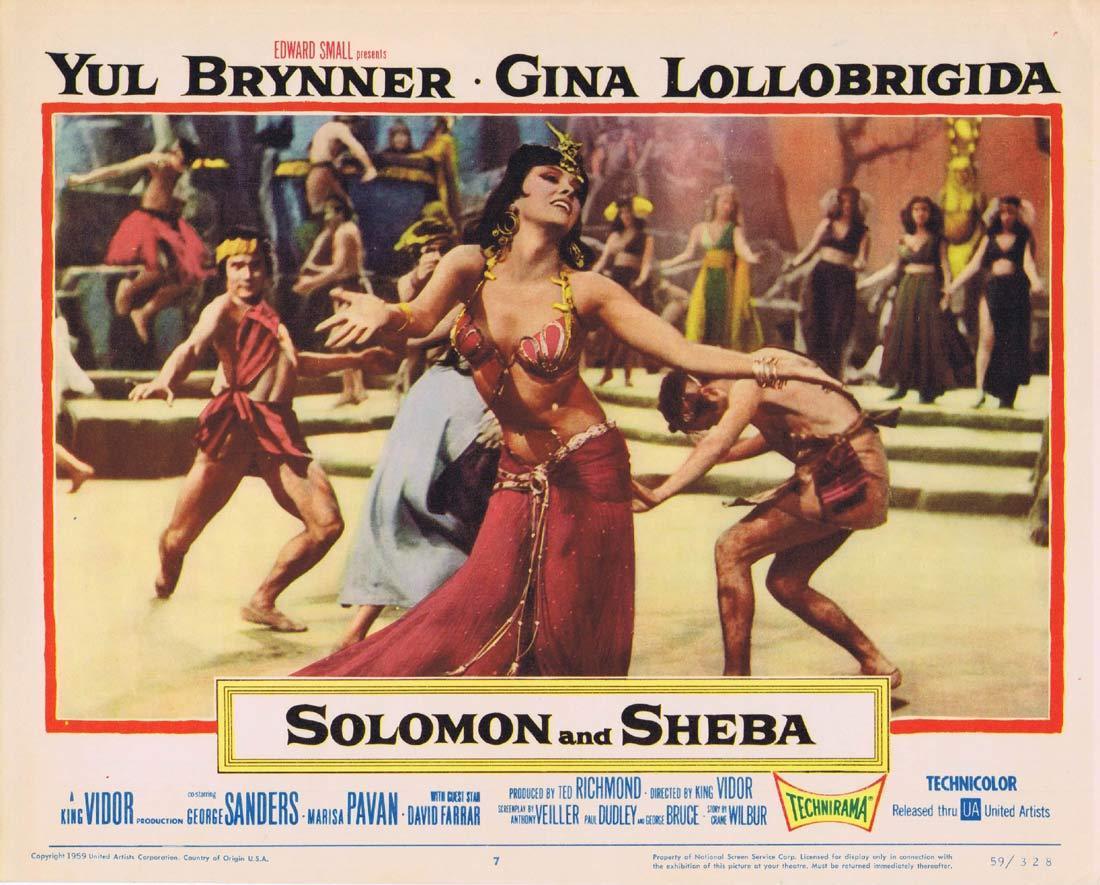 SOLOMON AND SHEBA Lobby Card 7 Yul Brynner Gina Lollobrigida