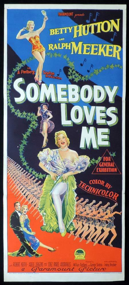 SOMEBODY LOVES ME Original Daybill Movie Poster BETTY HUTTON Ralph Meeker Richardson Studio