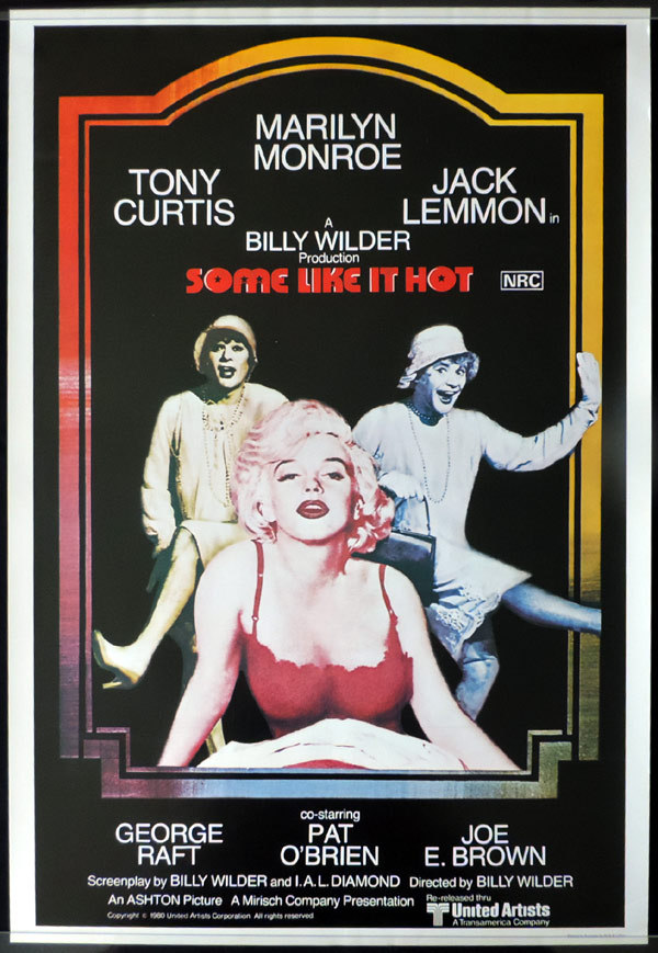 SOME LIKE IT HOT 1980r Marilyn Monroe ROLLED One sheet Movie Poster