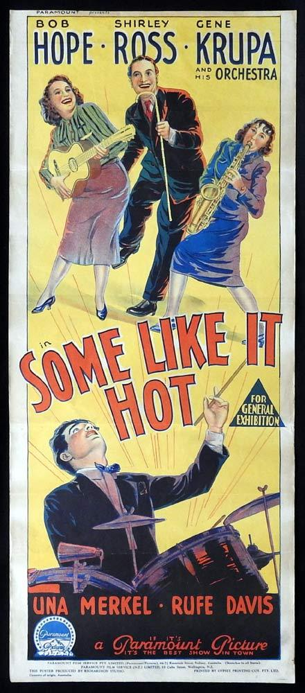 SOME LIKE IT HOT Long Daybill Movie poster  Bob Hope Shirley Ross Gene Krupa