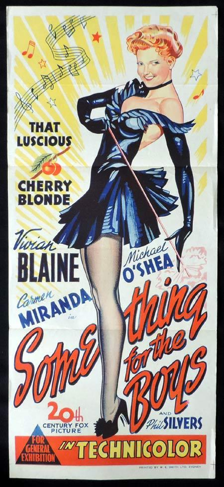SOMETHING FOR THE BOYS Original Daybill Movie Poster Vivian Blaine Carmen Miranda